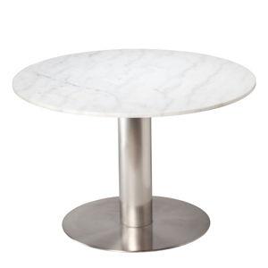 Bílý mramorový jídelní stůl s podnožím ve stříbrné barvě RGE Pepo, ⌀ 105 cm