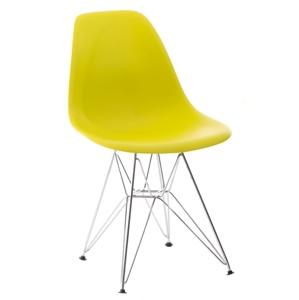 Židle P016 PP dark olive, chromované nohy