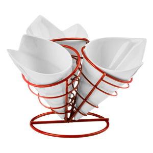 Set 3 misek a držáku na hranolky Premier Housewares