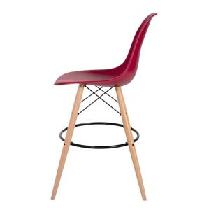 Barová židle DSW WOOD bordová č.36 - základ je z bukového dřeva