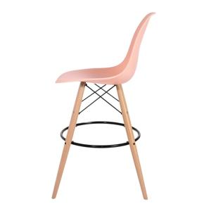 Barová židle DSW WOOD lososová č.35 - základ je z bukového dřeva