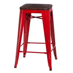 Barová židle PARIS WOOD 65cm červená sosna ořech