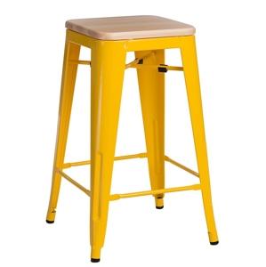 Barová židle PARIS WOOD 75cm žlutá sosna přírodní