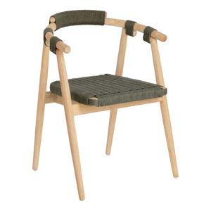 Zahradní židle z eukalyptového dřeva se zeleným výpletem La Forma Majela