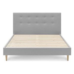 Světle šedá dvoulůžková postel Bobochic Paris Rory Light, 160 x 200 cm