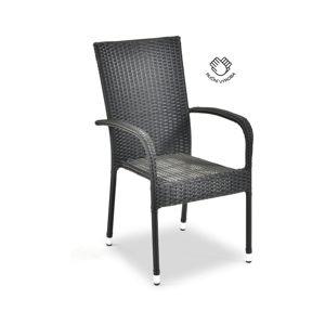 Šedá zahradní židle z umělého ratanu Le Bonom Paris, výška 95 cm