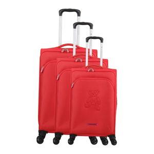 Sada 3 červených zavazadel na 4 kolečkách Lulucastagnette Emilia
