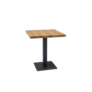 Stůl PURO masivní dub/černý 80x80