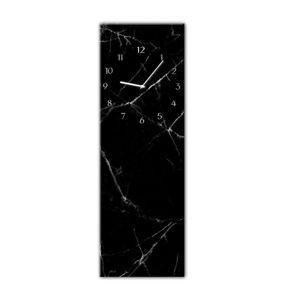 Nástěnné hodiny Styler Glassclock Black Marble, 20 x 60 cm