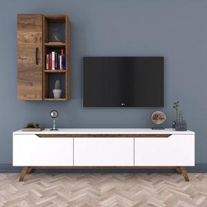 Set bílého TV stolku a nástěnné skřínky v dekoru ořechového dřeva Wren