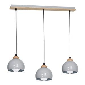 Šedé závěsné svítidlo s dřevěnými detaily Dama Tres