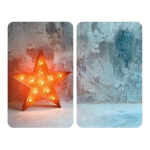 Sada 2 skleněných krytů na sporák Wenko Star, 52x30cm