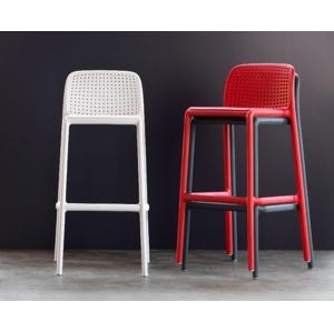 Barová zahradní židle NARDI LIDO: červený polypropylén