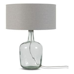 Stolní lampa se světle šedým stínidlem a konstrukcí z recyklovaného skla Good&Mojo Murano, ⌀47cm