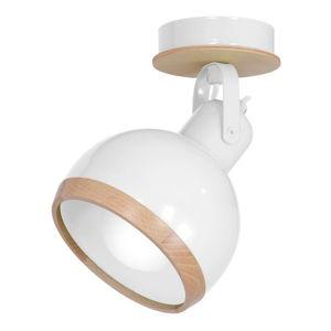 Bílé nástěnné svítidlo s dřevěnými detaily Oval