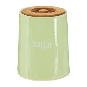Zelená dóza na cukr s bambusovým víkem Premier Housewares Fletcher, 800 ml
