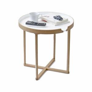 Bílý odkládací stolek z dubového dřeva s odnímatelnou deskou Wireworks Damieh, 45x45cm