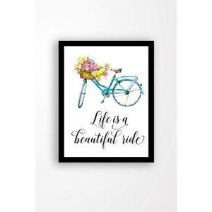 Nástěnný obraz na plátně v černém rámu Tablo Center Bicycle, 29 x 24 cm