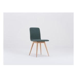 Zelená jídelní židle s podnožím z dubového dřeva Gazzda Ena