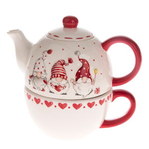 Červeno-bílá keramická konvice na čaj s motivem trpaslíků Dakls