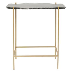 Černý barový stolek s kamenitou deskou Kare Design Piedra, 60 x 30 cm