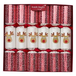 Sada 6 vánočních crackerů Robin Reed Reindeer