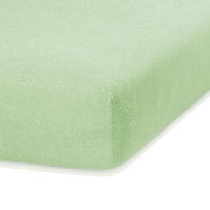 Světle zelené elastické prostěradlo s vysokým podílem bavlny AmeliaHome Ruby, 100/120 x 200 cm