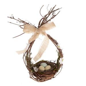 Proutěná dekorace ve tvaru hnízda Dakls, výška 26 cm