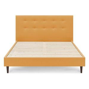 Žlutá dvoulůžková postel Bobochic Paris Rory Dark, 180 x 200 cm