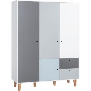 Bílo-šedá třídveřová šatní skříň s modrým detailem Vox Concept