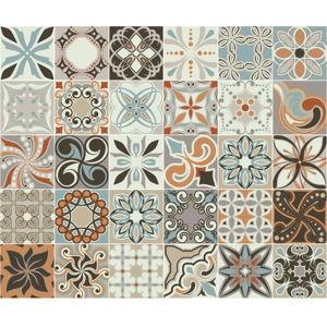 Sada 30 nástěnných samolepek Ambiance Cement Tiles Bali, 10 x 10 cm