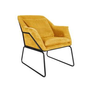 Žluté manšestrové křeslo Leitmotiv Glam