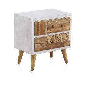 Noční stolek s bílými detaily a dvěma šuplíky Geese Rustico Puro, 48,5 x 52 cm