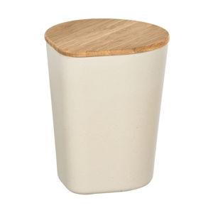 Béžový úložný box s bambusovým víkem Wenko Derry, 750ml