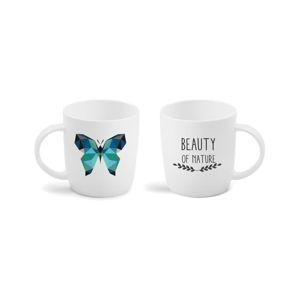 Hrnek z kostního porcelánu s oboustranným potiskem Vialli Design Butterfly, 370ml