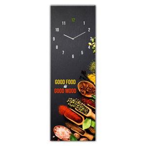 Skleněné nástěnné hodiny Styler Good Food, 20 x 60 cm