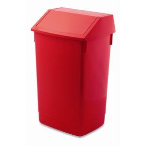 Červený odpadkový koš s vyklápěcím víkem Addis, 41 x 33,5 x 68 cm